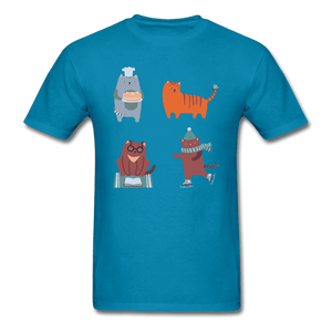 Unisex Classic T-Shirt = 4 cats - turquoise
