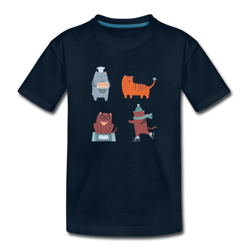 Toddler Premium T-Shirt = 4 cats - deep navy