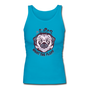 Women's Longer Length Fitted Tank = What The Fluff - turquoise