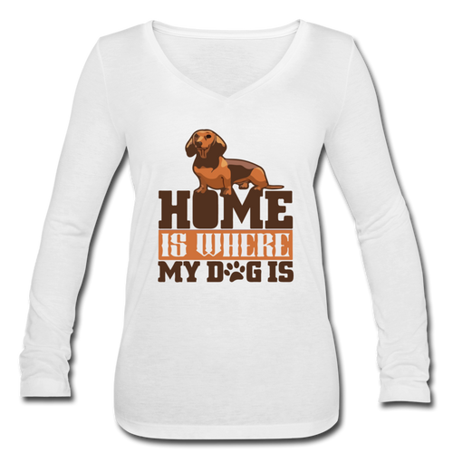 Women's Long Sleeve  V-Neck Flowy Tee =  Home Is Where My Dog Is - white