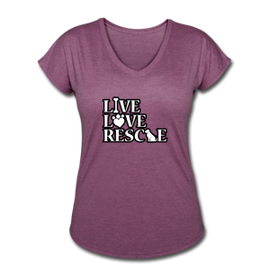 Women's Tri-Blend V-Neck T-Shirt - heather plum