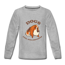 Kids' Premium Long Sleeve T-Shirt = Dogs Feel Our Emotions - heather gray