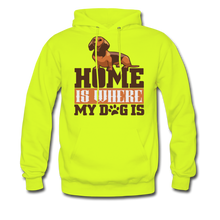 Men's Hoodie =  Home Is Where My Dog Is - safety green