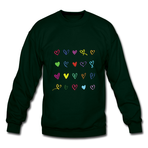 Crewneck Sweatshirt = 20 Hearts - forest green
