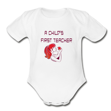 Organic Short Sleeve Baby Bodysuit = A Childs First Teacher - white