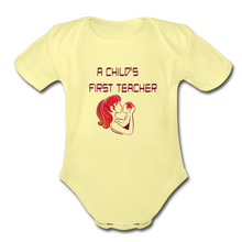 Organic Short Sleeve Baby Bodysuit = A Childs First Teacher - washed yellow