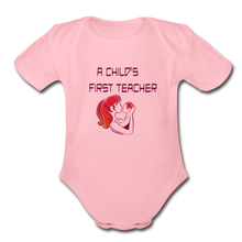 Organic Short Sleeve Baby Bodysuit = A Childs First Teacher - light pink