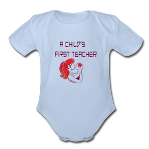 Organic Short Sleeve Baby Bodysuit = A Childs First Teacher - sky