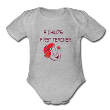 Organic Short Sleeve Baby Bodysuit = A Childs First Teacher - heather gray