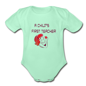 Organic Short Sleeve Baby Bodysuit = A Childs First Teacher - light mint