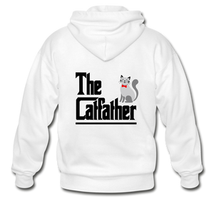 Gildan Heavy Blend Adult Zip Hoodie = The Catfather - white