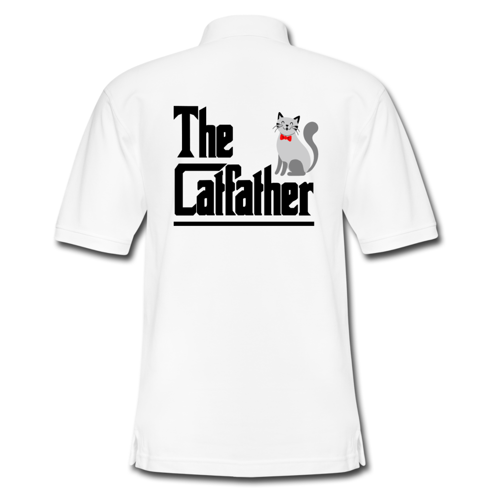 Men's Pique Polo Shirt = The Catfather - white