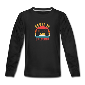 Kids' Premium Long Sleeve T-Shirt = Level 11 Unlocked - black