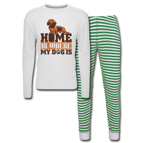 Unisex Pajama Set Home Is Where My Dog Is - white/green stripe