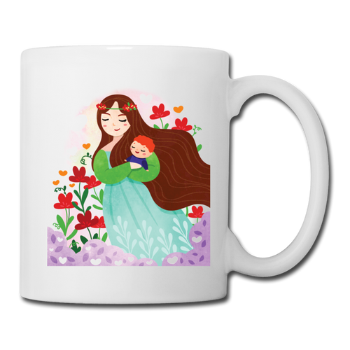 Coffee/Tea Mug Mother Carry A Baby - white