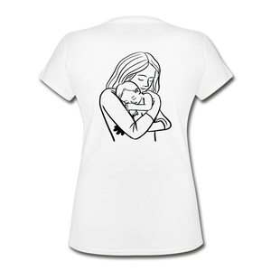 Women's V-Neck T-Shirt Mother With Baby - white