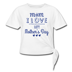 Women's Knotted T-Shirt Happy Mothers Day - white