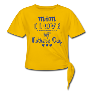 Women's Knotted T-Shirt Happy Mothers Day - sun yellow