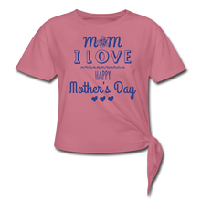 Women's Knotted T-Shirt Happy Mothers Day - mauve