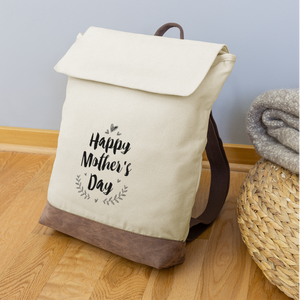 Canvas Backpack Happy Mother Day - ivory/brown