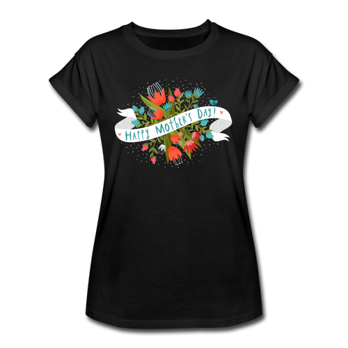 Women's Relaxed Fit T-Shirt Happy Mothers Day - black