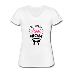 Women's V-Neck T-Shirt World Best Mom - white