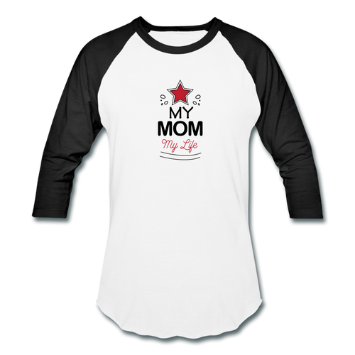 Baseball T-Shirt My mom My Life - white/black