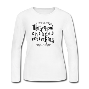 Women's Long Sleeve Jersey T-Shirt motherhood Changes Everything - white