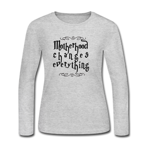 Women's Long Sleeve Jersey T-Shirt motherhood Changes Everything - gray