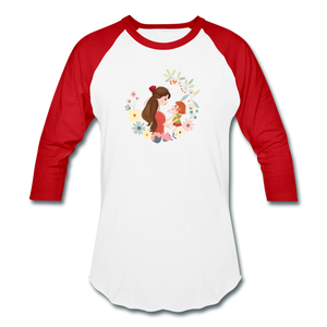 Baseball T-Shirt Mother With Baby - white/red