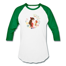 Baseball T-Shirt Mother With Baby - white/kelly green