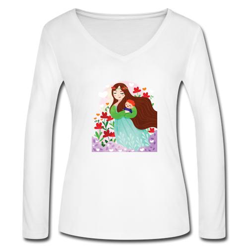 Women's Long Sleeve  V-Neck Flowy Tee Mother Carry A Baby - white