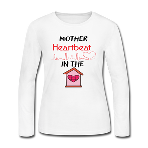 Women's Long Sleeve Jersey T-Shirt Mothers Heartbeat - white