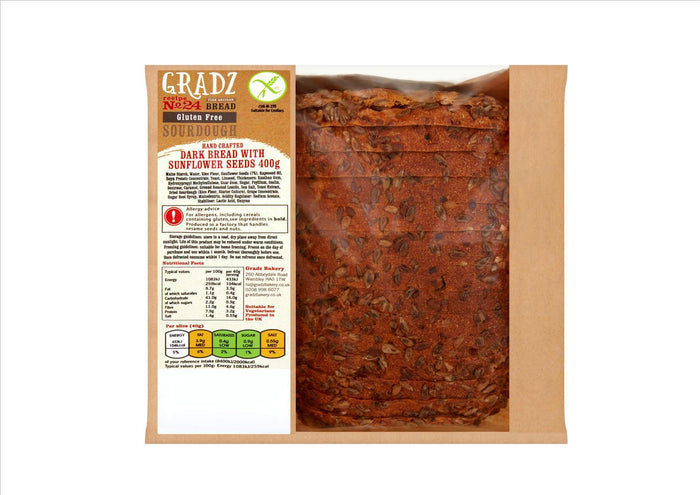 Gradz No.24 - Gluten Free Dark Sourdough with Sunflower Seeds (400g)  - **Order before 4pm for next day delivery**