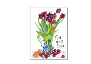 CARD - TULIPS IN BLUE AND WHITE JUG (GET WELL SOON)