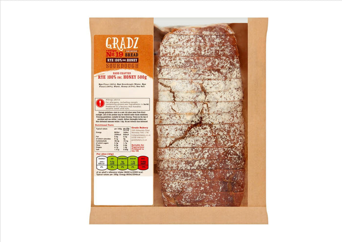 Gradz No.19 - 100% Rye with Honey (500g)  - **Order before 4pm for next day delivery**