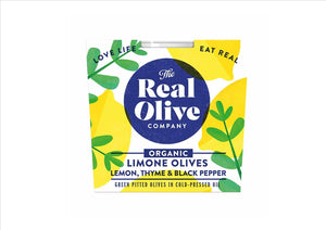 Olives Organic with Lemon, Thyme & Black Pepper (185g)