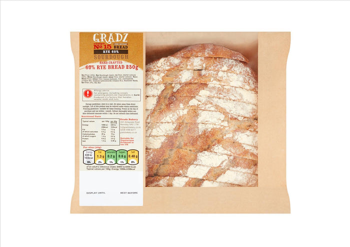 Gradz No.15 - 60% Rye Bread (250g)  - **Order before 4pm for next day delivery**
