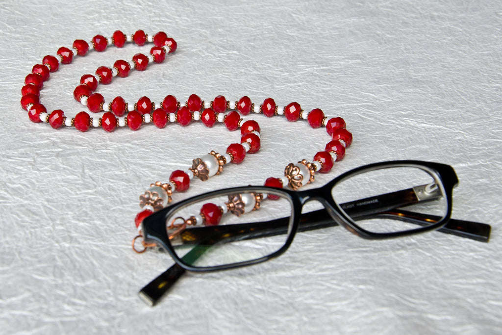 Fire & Copper Eyeglass Necklace