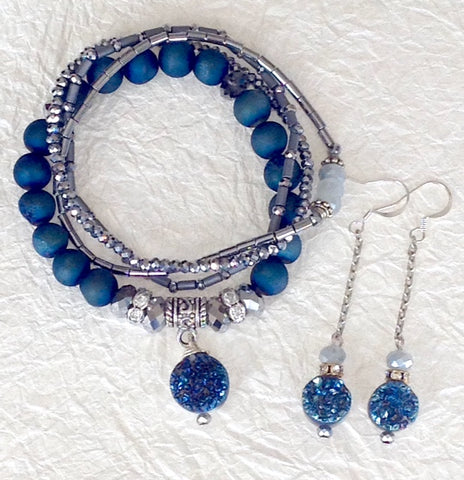 Trios! Steel Blue Bracelet Set