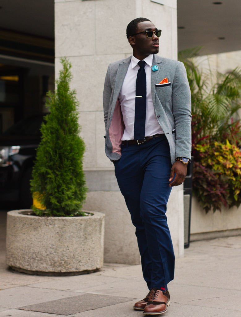 Subtlety of a  Navy Knit Tie look 3