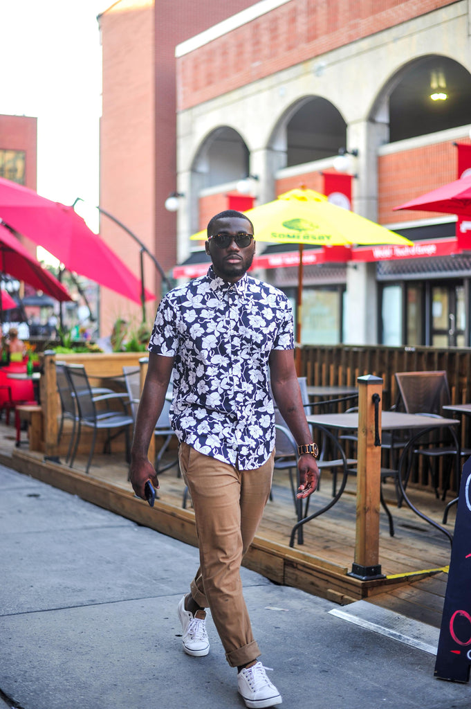Jesse Aboagye_Blue Floral Shirt_Weekend Style 3