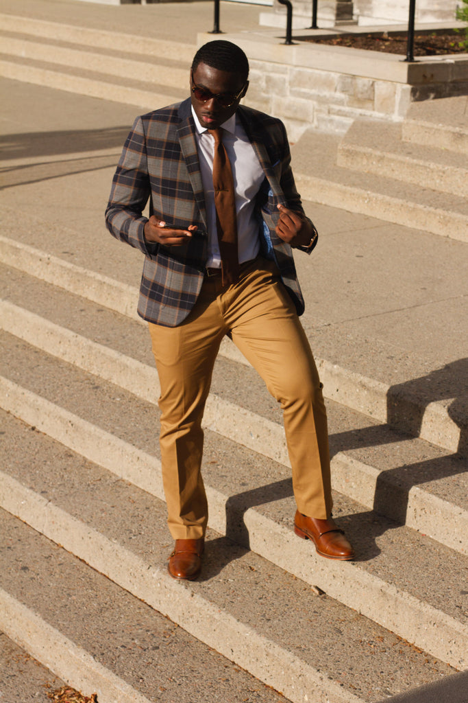 Jesse Aboagye Brown Knit Tie x Window Pane Blazer 2