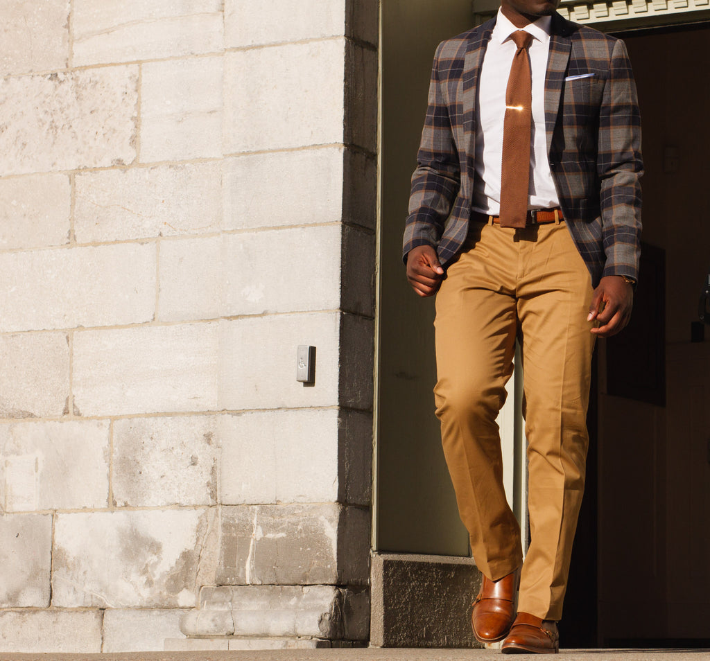 Jesse Aboagye Brown Knit Tie x Window Pane Blazer 3