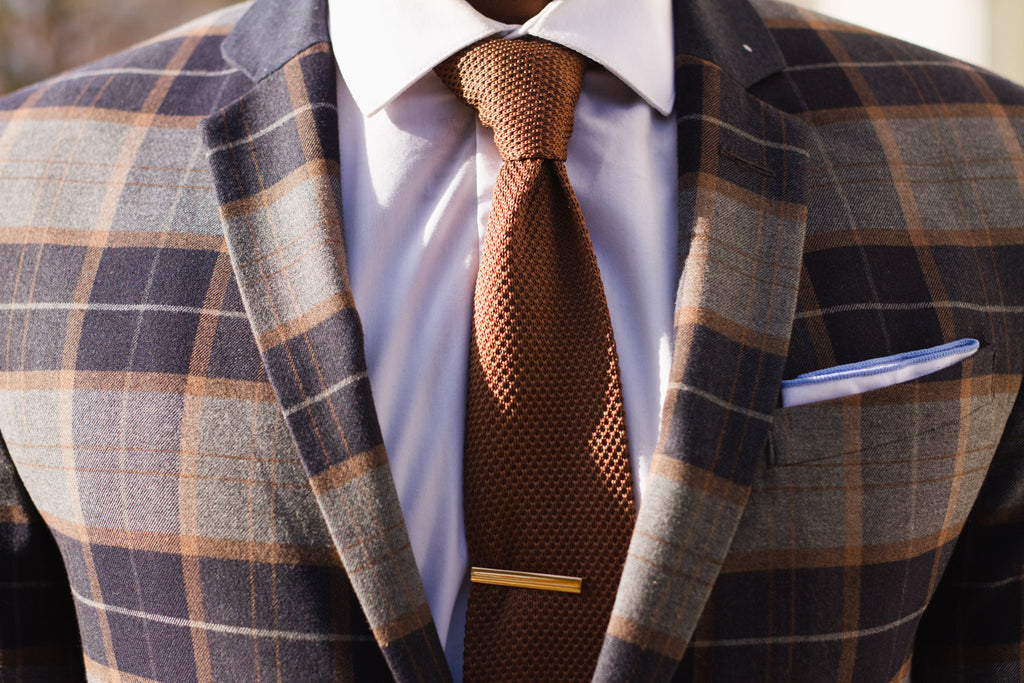 Jesse Aboagye Brown Knit Tie x Window Pane Blazer Details