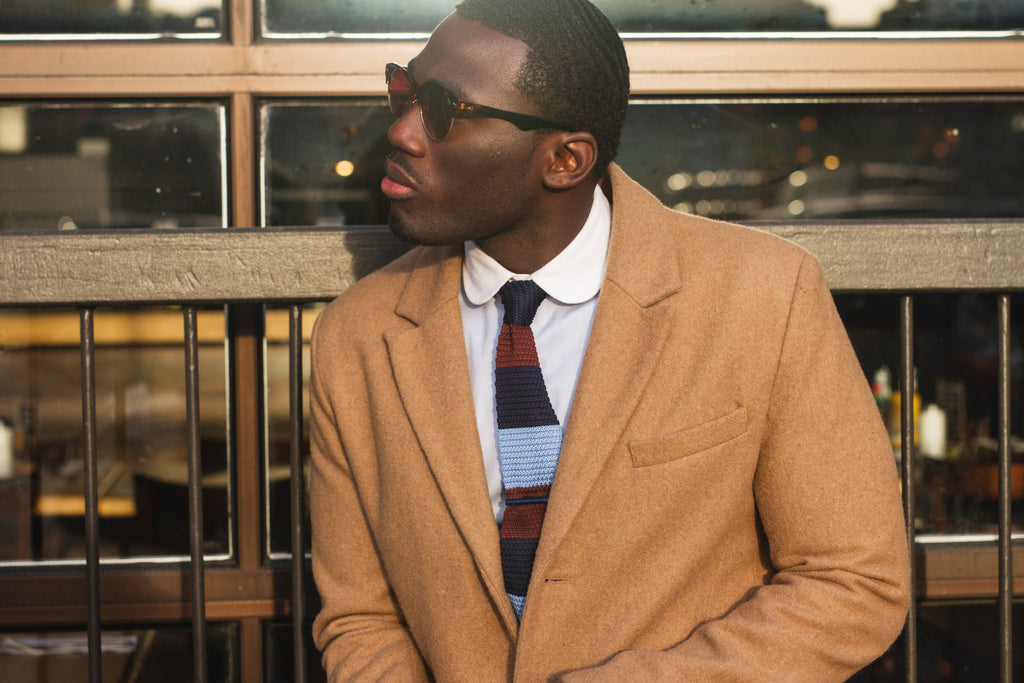 Jesse Aboagye Brown and Blue Color Block Knit Tie with Camel TopCoat 1