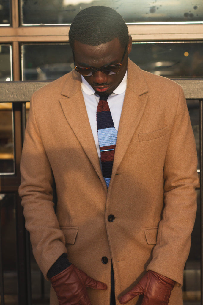 Jesse Aboagye Brown and Blue Color Block Knit Tie with Camel TopCoat 3
