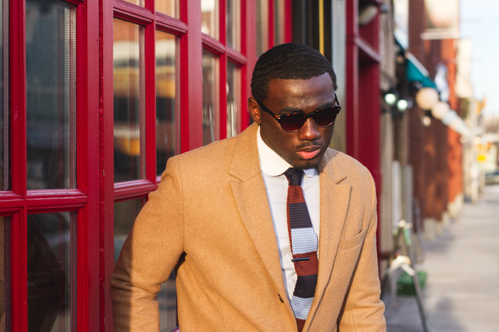 Jesse Aboagye Brown and Blue Color Block Knit Tie with Camel TopCoat 4