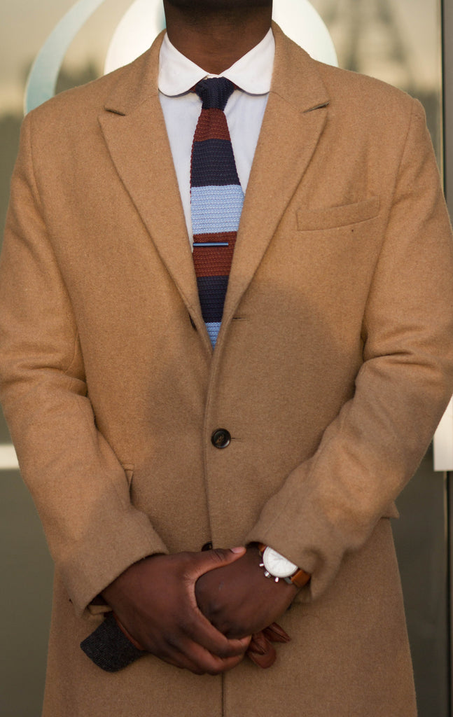 Jesse Aboagye Brown and Blue Color Block Knit Tie with Camel TopCoat 5