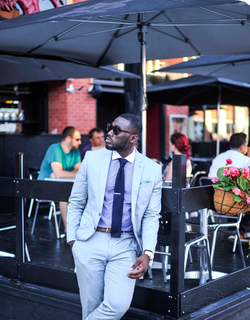 Jesse Aboagye Grey Suit_Gingham Shirt 3